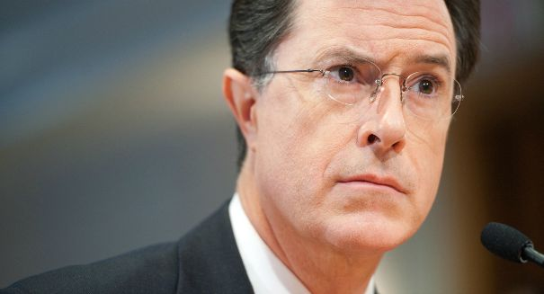 Before cracking jokes, Stephen Colbert gets serious