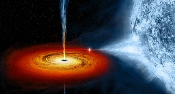 Massive black hole devours star, emitting high-energy plasma beam